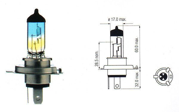 Halogen Bulb H4 P43t Rainbow 12v 10090w Halogen Bulbs